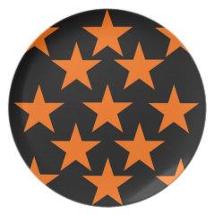 Orange and Black Super Stars Pattern Dinner Plates