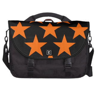 Orange and Black Super Stars Pattern Bags For Laptop