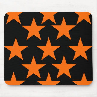 Orange and Black Super Stars Pattern Mouse Pad