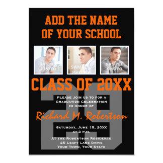 Orange and Black Team Colors Sports Graduation 5x7 Paper Invitation Card