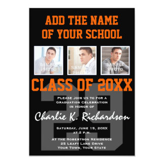 Orange and Black Team Colors Sports Graduation Card