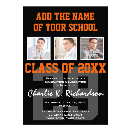 Orange and Black Team Colors Sports Graduation Custom Invites