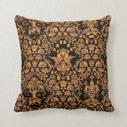 Orange and Black Throw Pillow