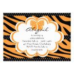 Orange and Black Tiger Print Custom Invitations