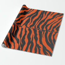 Orange And Black Tiger Stripes Animal Print Wrapping Paper