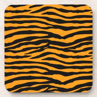 Orange and Black Tiger Stripes Beverage Coaster