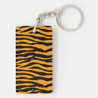 Orange and Black Tiger Stripes Double-Sided Rectangular Acrylic Keychain