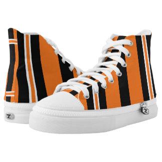Orange and Black Tiger Stripes Hi-Top Footwear Printed Shoes