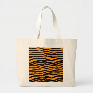 Orange and Black Tiger Stripes Large Tote Bag