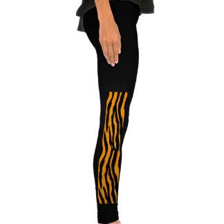 Orange and Black Tiger Stripes Leggings