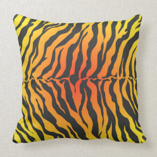 Orange and Black Tiger Stripes Throw Pillow