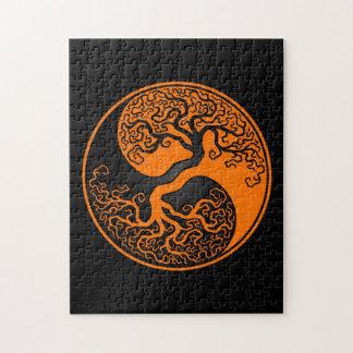 Orange and Black Tree of Life Yin Yang Jigsaw Puzzle