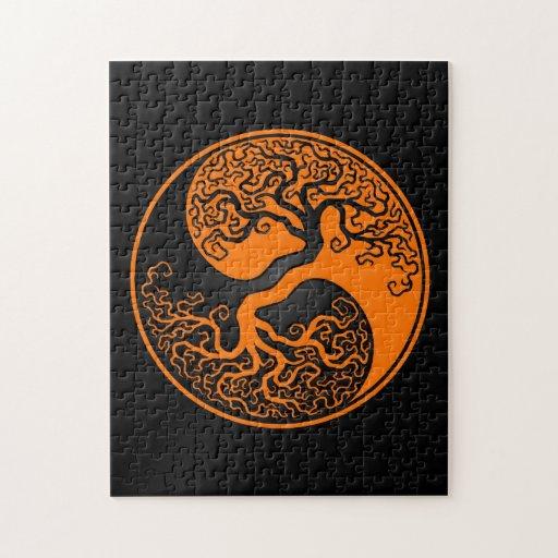 Orange And Black Tree Of Life Yin Yang Puzzle Zazzle