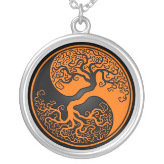 Orange and Black Tree of Life Yin Yang Silver Plated Necklace