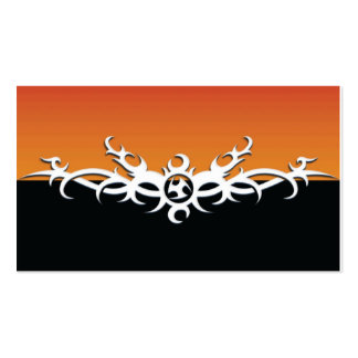 Orange-and-Black-Tribal Business Card Template