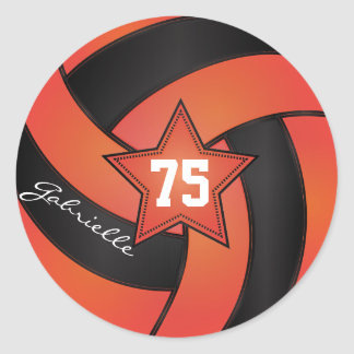 Orange and Black Volleyball | DIY Name & Number Classic Round Sticker