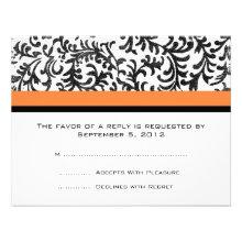 Orange and Black Wedding RSVP Custom Invitation
