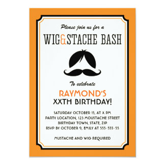 Orange and black wig mustache bash birthday party card