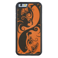 Orange and Black Yin Yang Cats Carved® Maple iPhone 6 Bumper Case