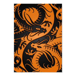 Orange and Black Yin Yang Chinese Dragons Personalized Announcement