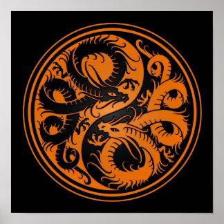 Orange and Black Yin Yang Chinese Dragons Poster
