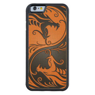 Orange and Black Yin Yang Dragons Carved Maple iPhone 6 Bumper Case