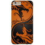 Orange and Black Yin Yang Dragons Barely There iPhone 6 Plus Case