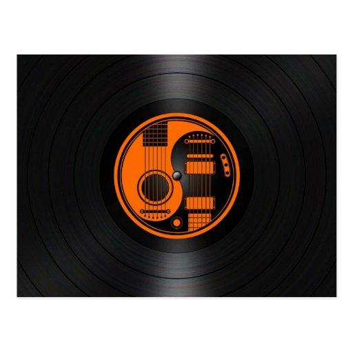 Orange and Black Yin Yang Guitars Vinyl Graphic Postcard