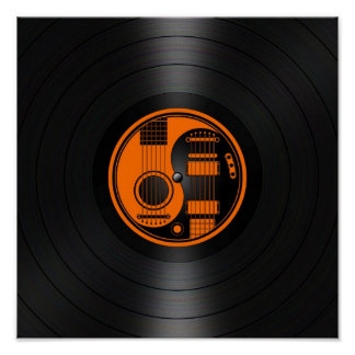 Orange and Black Yin Yang Guitars Vinyl Graphic Poster