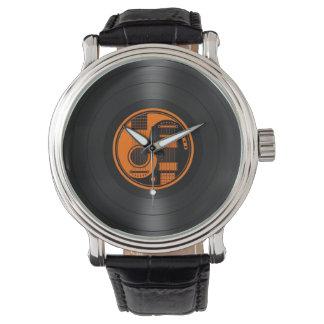 Orange and Black Yin Yang Guitars Vinyl Graphic Wristwatch