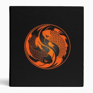 Orange and Black Yin Yang Koi Fish 3 Ring Binder
