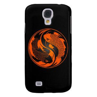 Orange and Black Yin Yang Koi Fish Galaxy S4 Covers