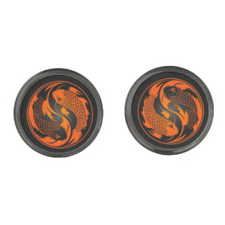 Orange and Black Yin Yang Koi Fish Gunmetal Finish Cufflinks