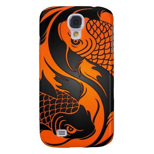 Orange and black yin yang koi fish samsung galaxy s4 cases for Orange and black koi
