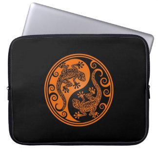 Orange and Black Yin Yang Lizards Laptop Sleeves