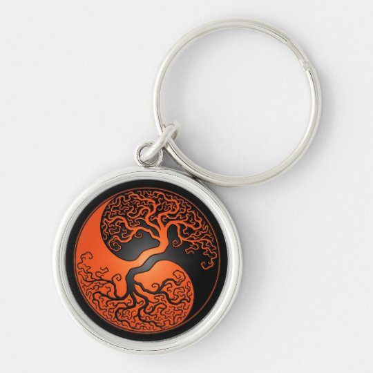 Orange and Black Yin Yang Tree Keychain