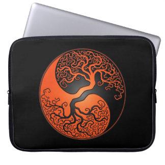 Orange and Black Yin Yang Tree Laptop Sleeves