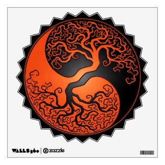 Orange and Black Yin Yang Tree Wall Skin