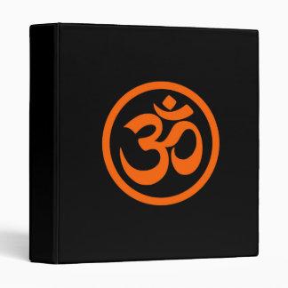 Orange and Black Yoga Om Circle Vinyl Binder