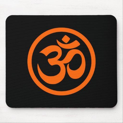 Orange and Black Yoga Om Circle Mousepads