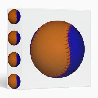 Orange and Blue Baseball 3 Ring Binder