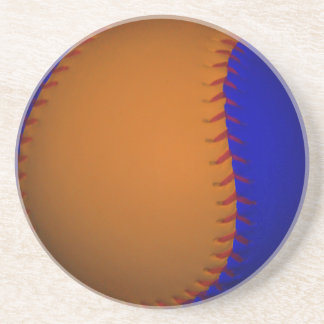 Orange and Blue Baseball Drink Coaster