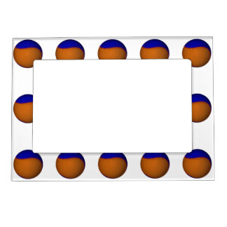 Orange and Blue Baseball Magnetic Picture Frame