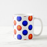 Orange and Blue Basketball Pattern Coffee Mug