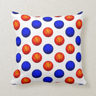 Orange and Blue Basketball Pattern Throw Pillow