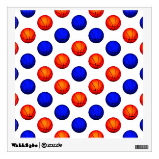 Orange and Blue Basketball Pattern Wall Decal