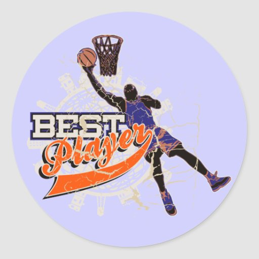 Orange and Blue Basketball Tshirts and Gifts Stickers