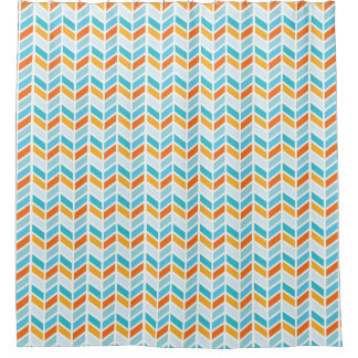 Orange and Blue Bold Herringbone Pattern Design Shower CurtainOrange Shower Curtains   Zazzle. Yellow And Teal Shower Curtain. Home Design Ideas