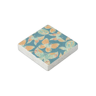 Orange and Blue Butterflies Stone Magnet