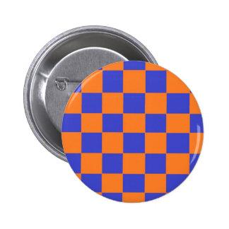 Orange and Blue Checkers 2 Inch Round Button